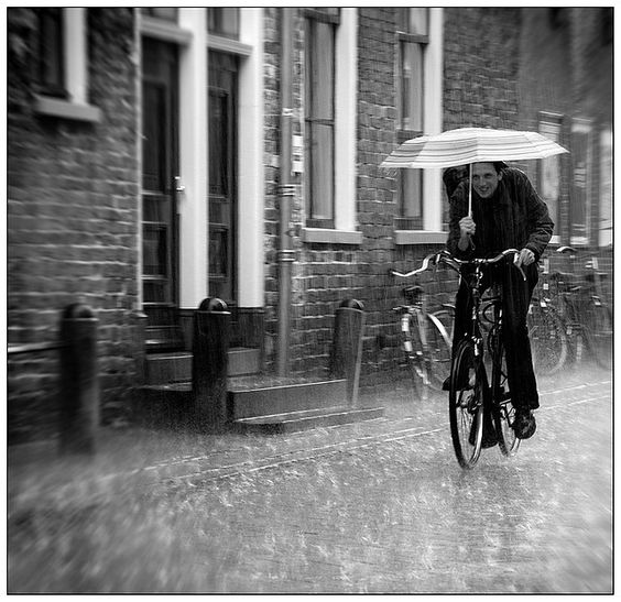 'Cycling Through the Rain' Groningen, the Netherlands