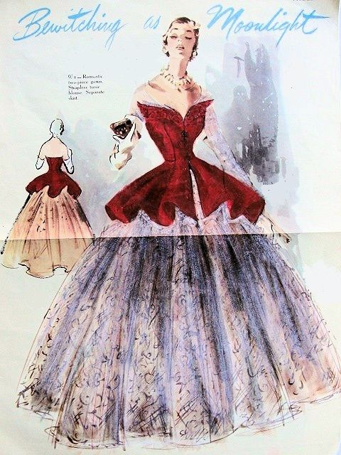 Vtg 60s Modes Royale 2236 Princess Evening Ball Gown Dress Pattern ...
