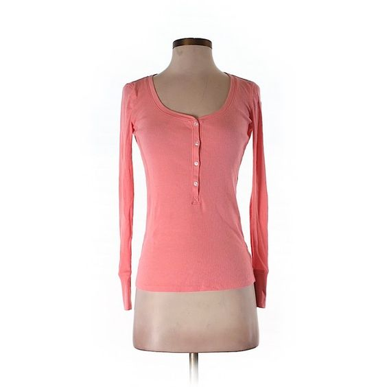 Pre-owned Victoria's Secret Long Sleeve Henley Size 4: Pink Women's... (£12) ❤ liked on Polyvore featuring tops, pink, red long sleeve top, henley top, victoria's secret, long sleeve tops and red top