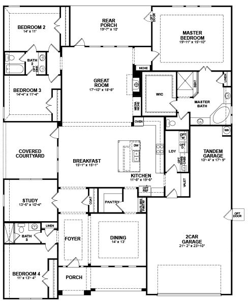 Floor plan i love that there is a door from the master for House designs with master bedroom at rear