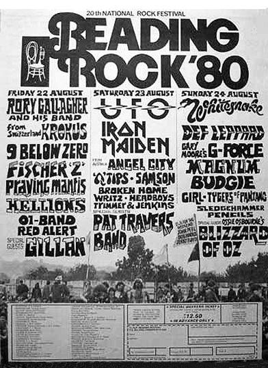 Reading 1980 Rock Festival Vintage Concert Posters Music Poster Rock Festivals
