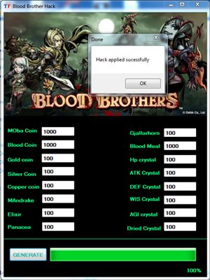 http://redapssonline.com/blood-brothers-hack/ Blood Brothers Hack Tool Features:  - Generate MOba, Blood, Gold, Silver, Copper Coins - Generate ATK, DEF, WIS, AGI, DRIED Crystals - Generate Mandrake - Generate Elixir - Generate Panacea - Anti Ban Technology - Auto update feature - Work on browsers http://redapssonline.com/blood-brothers-hack/