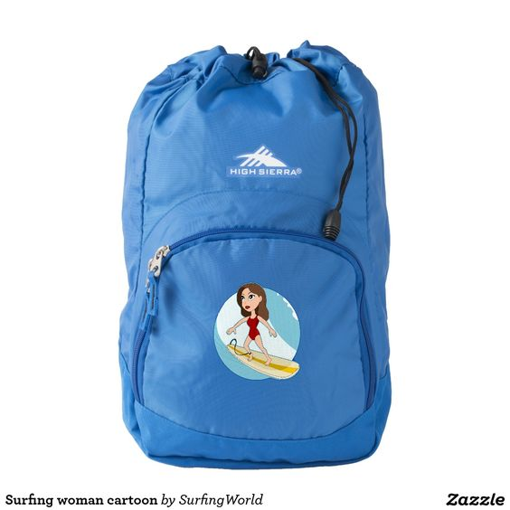 Surfing woman cartoon backpack