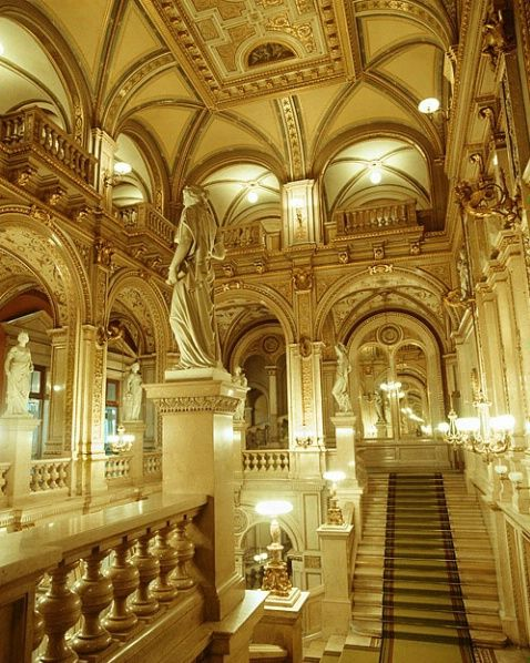 Interior of opera house, Vienna, Austria