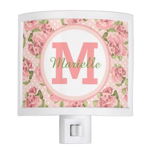 Shabby Chic Roses Polka Dots Pink Night Lights - April 7
