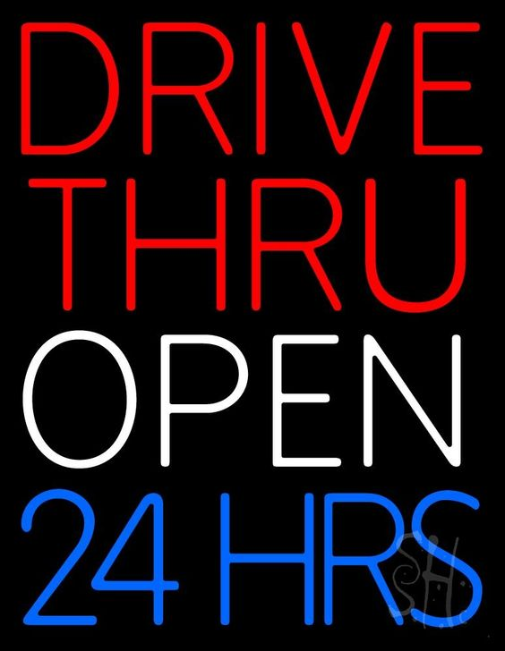 Red Drive Thru Open 24 Hrs Neon Sign 24 Tall x 31 Wide x 3 Deep, is 100% Handcrafted with Real Glass Tube Neon Sign. !!! Made in USA !!!  Colors on the sign are Red, Blue and White. Red Drive Thru Open 24 Hrs Neon Sign is high impact, eye catching, real glass tube neon sign. This characteristic glow can attract customers like nothing else, virtually burning your identity into the minds of potential and future customers.