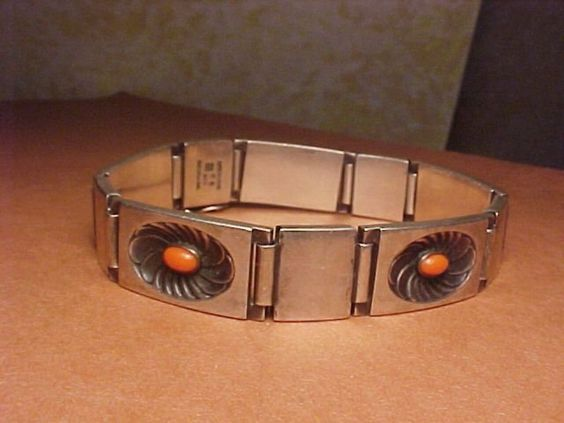EARLY GEORG JENSEN DENMARK STERLING CORAL BRACELET