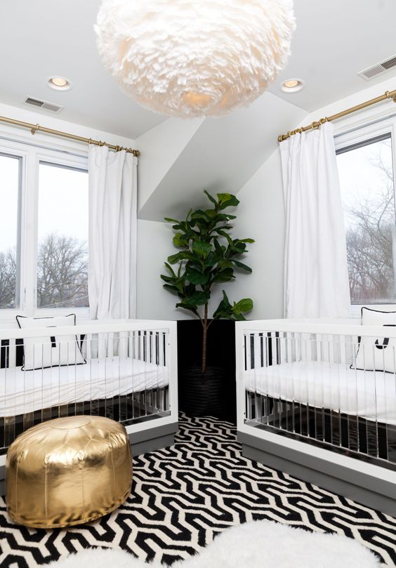 a modern nursery full of glam touches Photography : Hallie Duesenberg Read More on SMP: http://www.stylemepretty.com/living/2016/04/21/pulling-off-a-modern-gender-neutral-nursery-for-twins/: