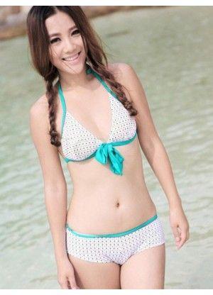 Sweet Two Pieces Polka Dot Women's Halter Bikini Set - swimsuits - Women's Clothing