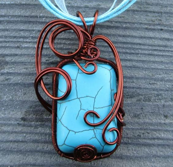 Magnesite Wire Wrapped Pendant by ArtsyInTheCity on Etsy, $49.00