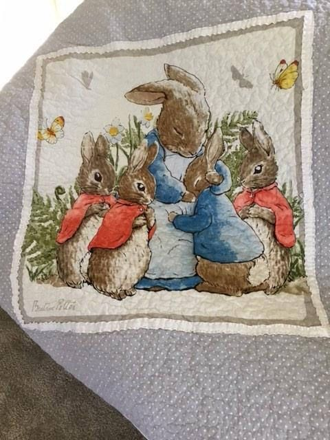 Mrs Bunny,Flopsy,Mopsy and Cottontail Beatrix Potter blanket nursery decor,baby shower,Easter baby gift. quilt Peter Rabbit