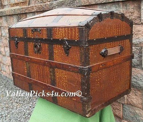 Antique Designer Baxendale Metal Alligator Steamer Travel DOME TOP TRUNK Chest