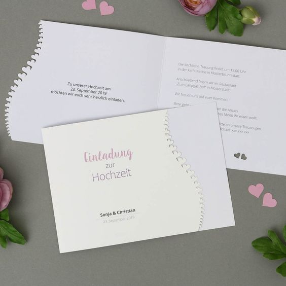 Adomo | Einladung   Klappkarte Quer Für Hochzeit Mit Lasercut Herzen Online  Gestalten Und Drucken Lassen | Einladung Hochzeit | Pinterest | Hochzeit