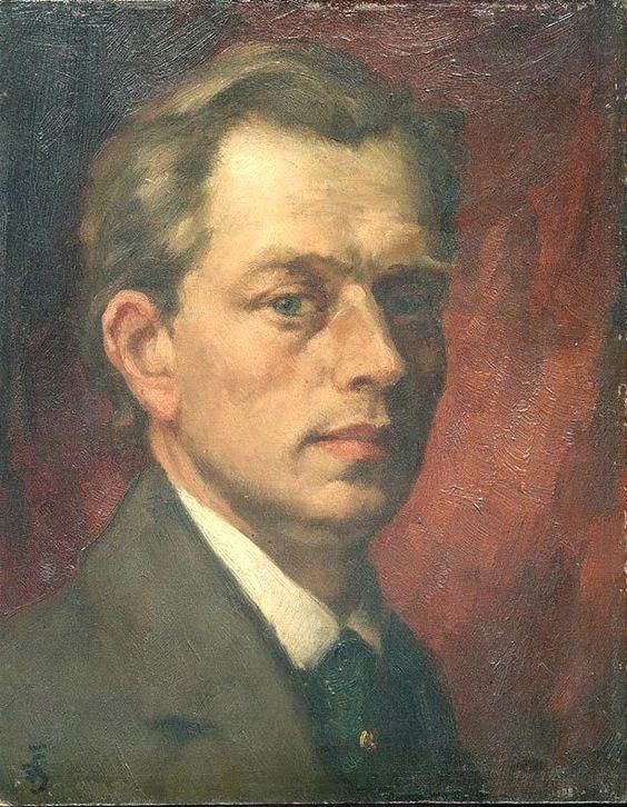 "T. F. Simon ""Self portrait"" , oil on panel, 22 x 27,5 cm, 1915. Monogram TFS. Signed (reverse) TF Šimon, 1915."
