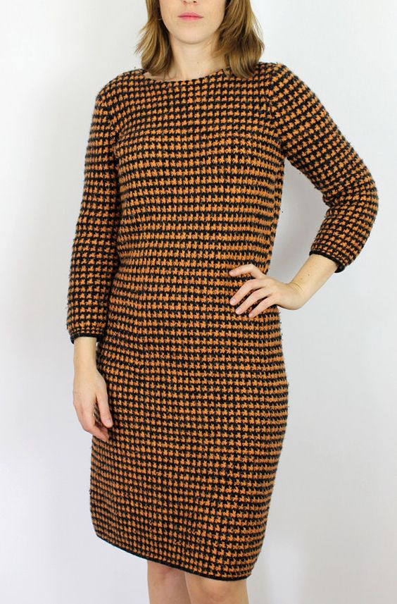 vintage houndstooth knit dress/ Mad Men wool by PaintYourWagonShop