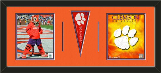Two framed 8 x 10 inch Clemson University photos of Clemson University Team Logo with a Clemson University mini pennant, double matted in team colors to 30 x 12 inches.  The lines show the bottom mat color.  (Pennant design subject to change)  $99.99  @ ArtandMore.com
