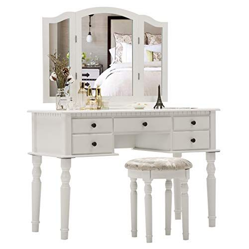 Unihome Trifold Mirrors Large Makeup Vanity Table Set Cushioned