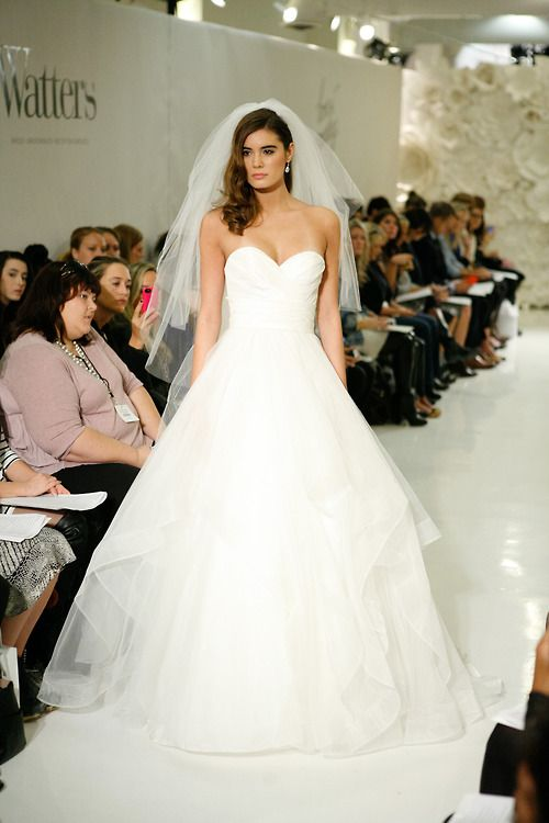 Watters strapless sweetheart neckline with horsehair trimmed tiers; ballgown silhouette. NY Bridal Fashion Week