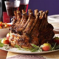 Holiday Crown Pork Roast Recipe- Recipes Crown roast makes a regal Christmas dinner. Flavored with rosemary, sage and thyme, it's elegant and simple, a real blessing during the hectic holidays. —Lisa Speer, Palm Beach, Florida