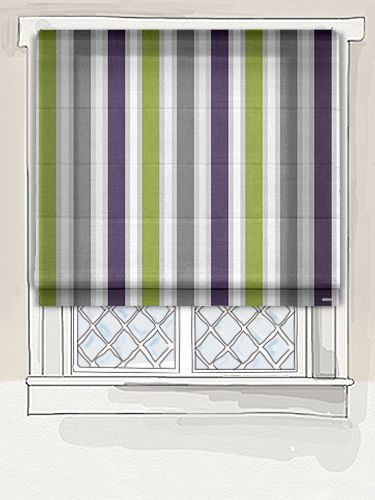 The Wimbledon Stripe Grape Roman Blind Is A Funky Mix Of