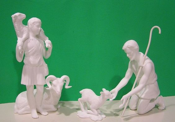 LENOX SHEPHERDS of the NATIVITY Bone China NEW in GREEN/GOLD BOX w/COA Bisque