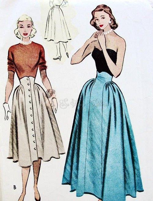 1950s unique high waist skirt pattern pattern