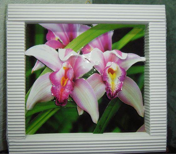 tableau en 3D orchidées