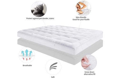 2 Jeary Mattress Pad Cover Cooling Overfilled Quilted Fitted