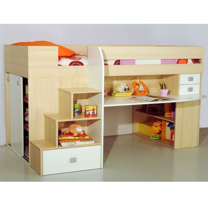 lit adulte lit enfant ensemble lit mezzanine 90 cm. Black Bedroom Furniture Sets. Home Design Ideas