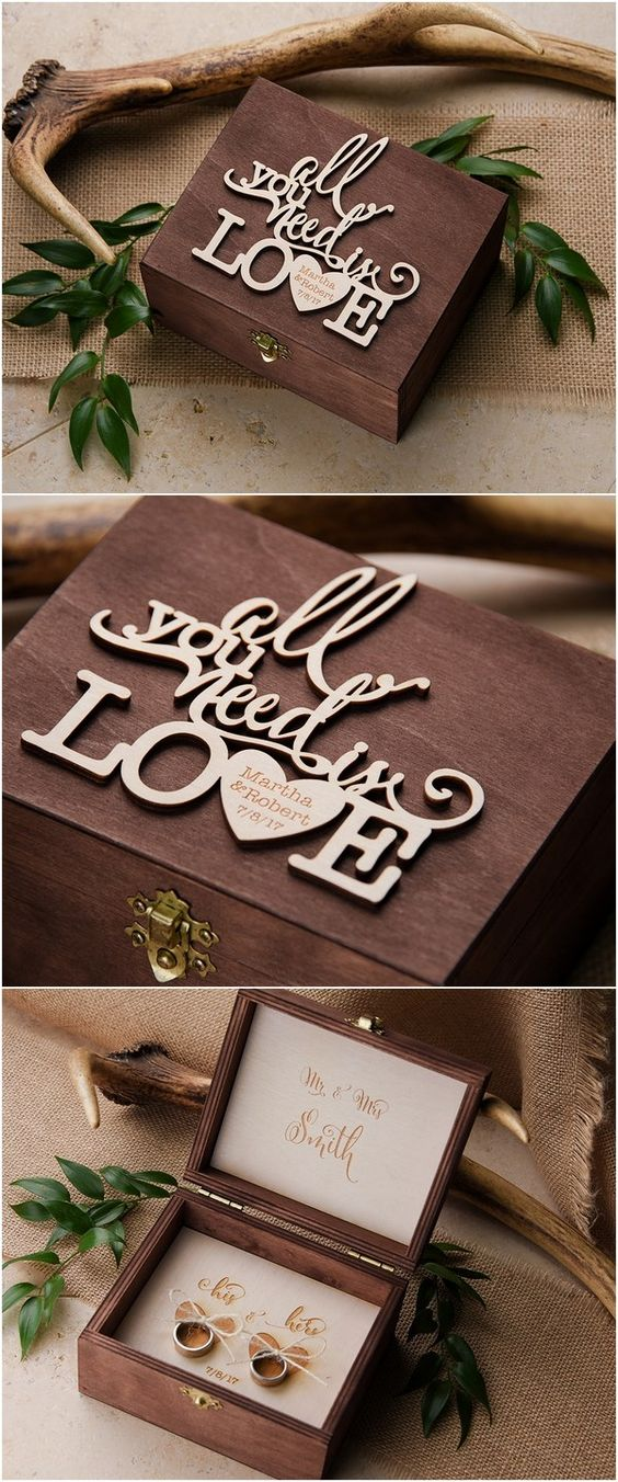 """""""All you need is love"""" rustic country wood wedding ring box @4LOVEPolkaDots"""