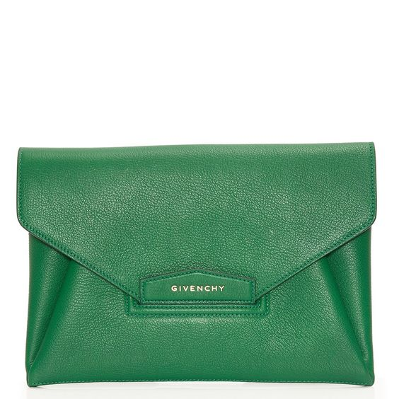 green leather clutches | Antigona green leather envelope clutch - Givenchy from Cricket Fashion ...