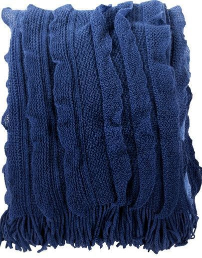 "Cobalt blue throw. Beautiful deep cobalt blue acrylic knit throw blanket. Super soft vertical rows of easy ruffles, ombre graduated color from light blue to deep blue, and fringed ends. Beautiful home accent and cozy warm. 50"" x 60"""