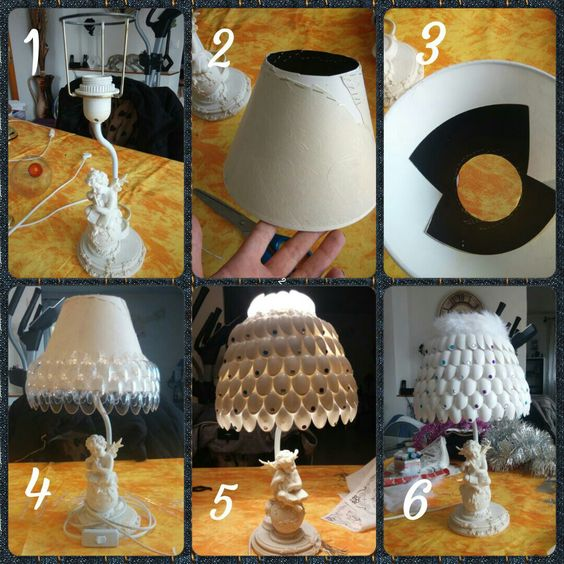 lampe recup 39 abat jour fabriqu base de petite cuill re en plastique mes cr ations. Black Bedroom Furniture Sets. Home Design Ideas