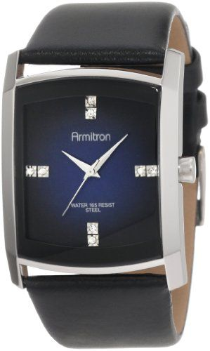 leather strap watch swarovski crystals and black leather armitron men s 204604dbsvbk dress swarovski crystal accented silver tone black leather strap watch armitron
