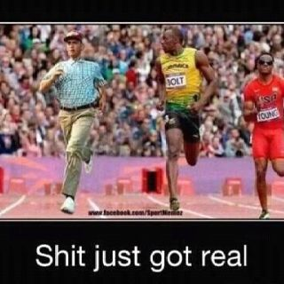 Forrest Gump just may be the man to beat Bolt! LOL