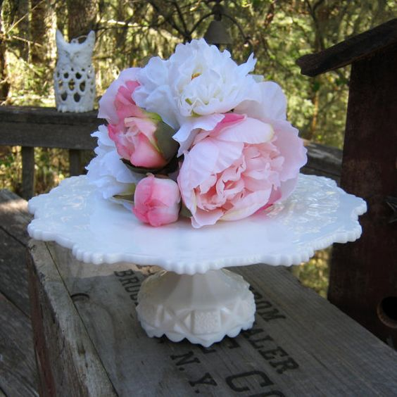 Westmoreland Old Quilt Milk Glass Cake Stand  by oakhillvintage, $115.00