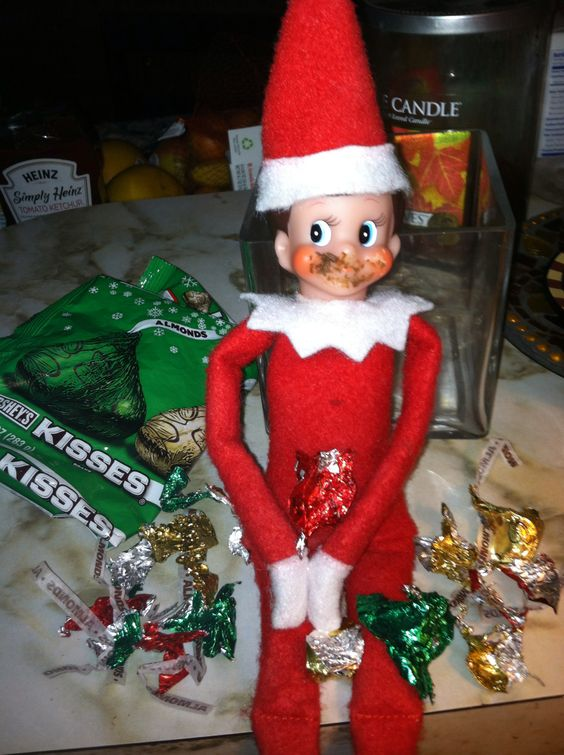 Elf on the shelf ideas getting into the chocolate for Elf on the shelf chocolate kiss
