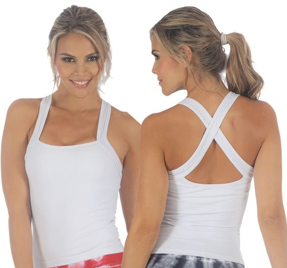 White active-wear tank with built in support bra and straps that cross in back or in front. Dry fit. #palmbeachathleticwear.com