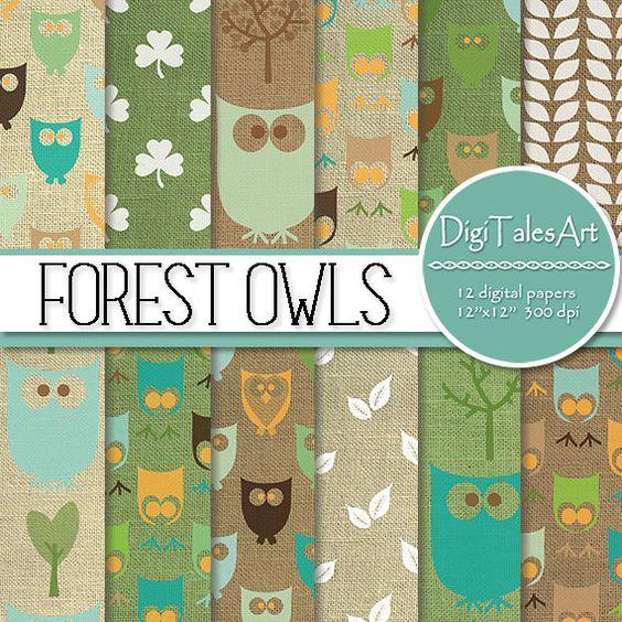 Owl linen digital paper Forest Owls eco natural by DigiTalesArt