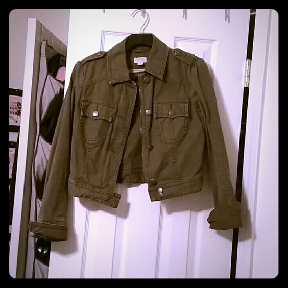 Distressed Jacket Petite small distressed army green jacket hardly worn in brand new conditions American Eagle Outfitters Jackets & Coats Jean Jackets