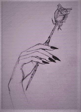 Black Longnails Nails Hand Holding Rose Drawings Rose Sketch Roses Drawing