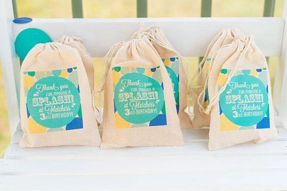 Personalised Muslin Party Bags Splash Party, Pool Party Boys Girls Bubble Party Bags on Etsy, $25.17
