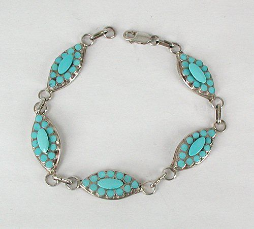 Hand made Native American Indian Jewelry; Zuni Sterling Silver turquoise link…