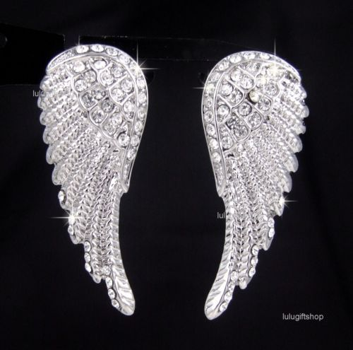 18K White Gold Plated Angel Bird Wing Earrings Use Diamante Swarovski Crystals | eBay  $10