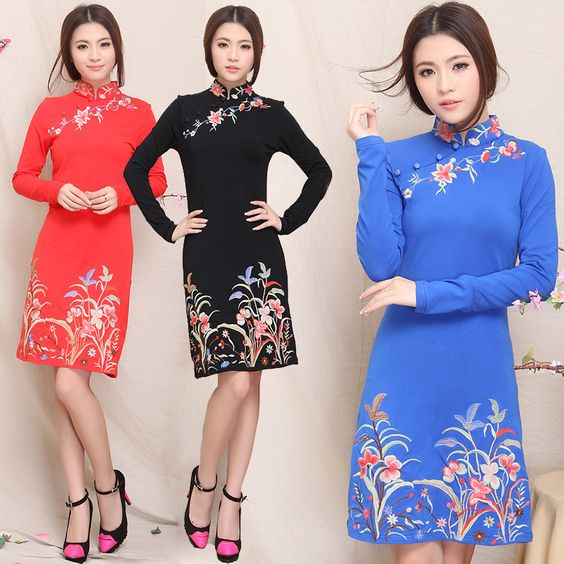 Modern Chinese Style Dress - Modern Chinese Qipao Dress: Modern Floral Chinese Dress $59.99 (45,20 €)
