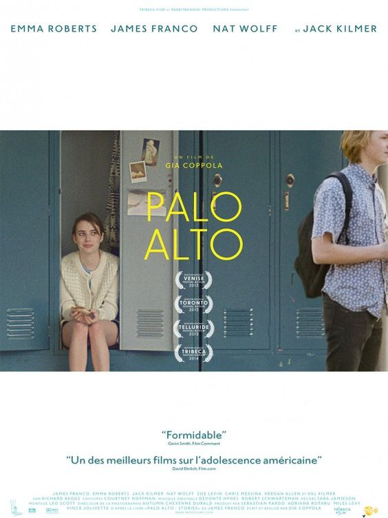 Palo Alto Movie Poster Based on a collection of short stories by James Franco (who also stars), this perceptive drama follows a group of disaffected teens in a wealthy California town who have money to burn but little parental supervision -- and even less direction. Cast:James Franco, Jack Kilmer, Zoe Levin, Chris Messina, Talia Shire, Emma Roberts, Nat Wolff, Claudia Levy, Keegan Allen, Don Novello, Val Kilmer