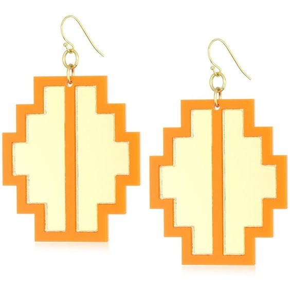 """Sandy Hyun """"Deco Lucite"""" Opaque Lucite Aztec Earrings ❤ liked on Polyvore"""
