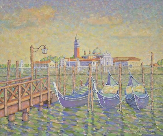 ARTFINDER: San Giorgio Maggiore by William R. Beebe - This view from San Marco past the gondolas and across the river to the island of San Giorgio is one frequently photographed by tourists and photographers whe...