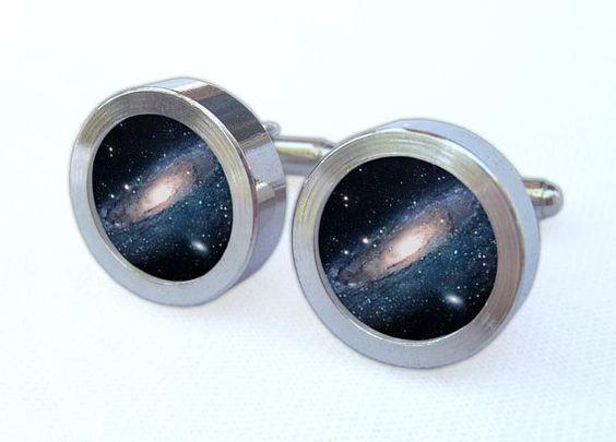 Galaxy Cufflinks  Milky Way Galactic Photo Design by MisterManatee, $25.00