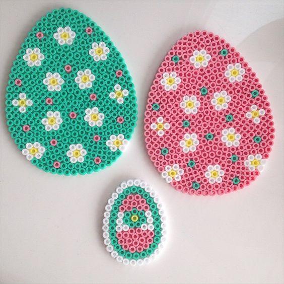Easter eggs ornaments hama perler beads by linebinemor